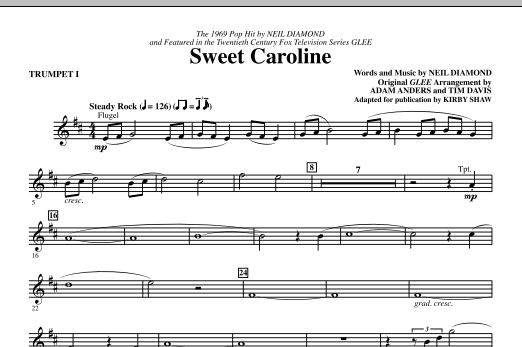 Sweet Caroline (complete set of parts) sheet music for orchestra/band (chamber ensemble) by Kirby Shaw, Glee Cast, Miscellaneous and Neil Diamond. Score Image Preview.
