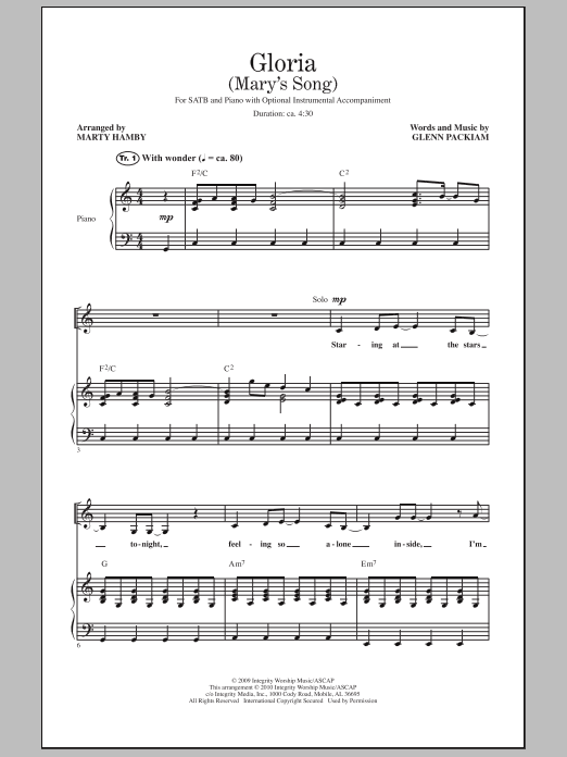 Gloria (Mary's Song) Sheet Music