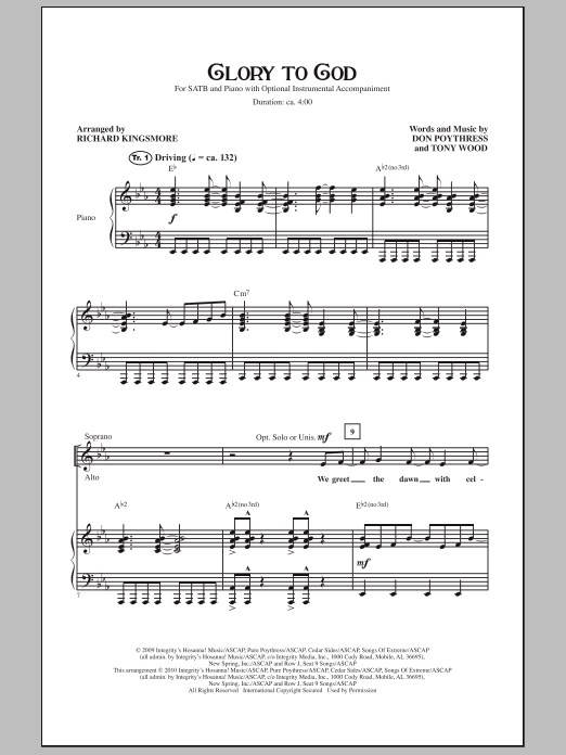 Glory To God Sheet Music