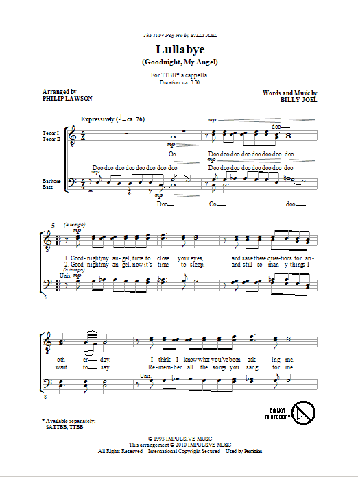 Lullabye (Goodnight, My Angel) Sheet Music