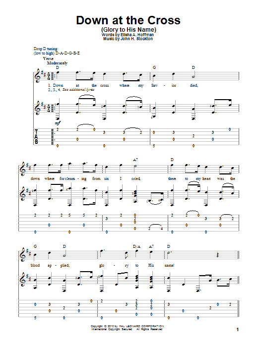 Tablature guitare Down At The Cross (Glory To His Name) de Elisha A. Hoffman - Tablature Guitare
