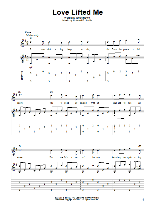 Tablature guitare Love Lifted Me de James Rowe - Tablature Guitare