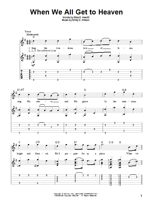 Tablature guitare When We All Get To Heaven de Eliza E. Hewitt - Tablature Guitare
