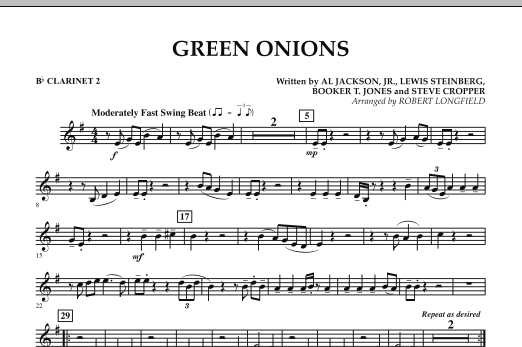 Green Onions - Bb Clarinet 2 (Concert Band)