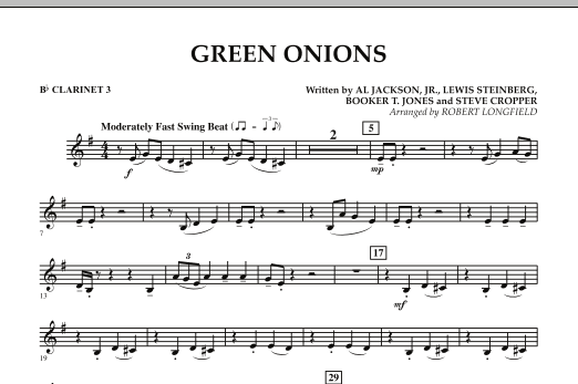 Green Onions - Bb Clarinet 3 (Concert Band)