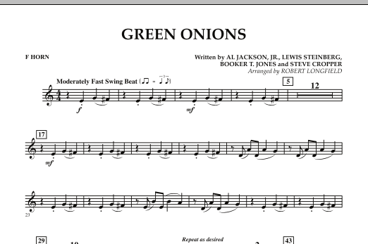 Green Onions - F Horn (Concert Band)