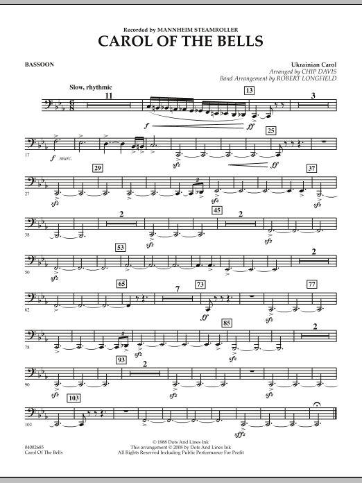 Carol Of The Bells - Bassoon (Concert Band)