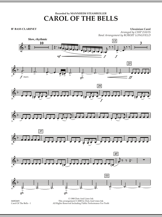 Carol Of The Bells - Bb Bass Clarinet (Concert Band)