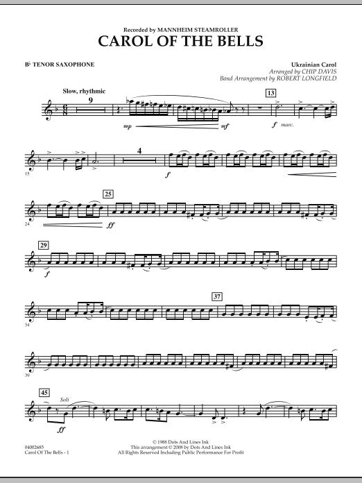 Carol Of The Bells - Bb Tenor Saxophone (Concert Band)