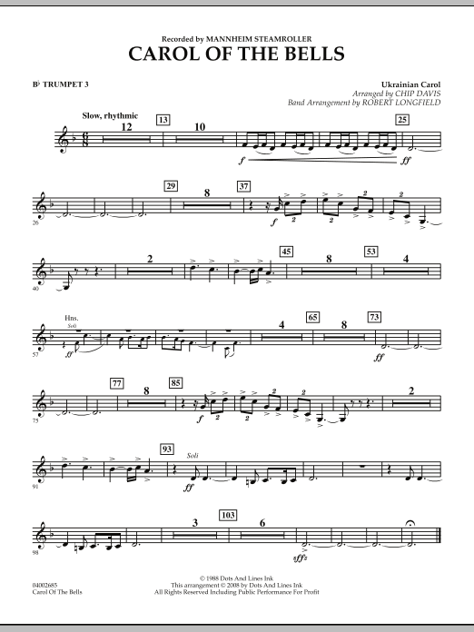 Carol Of The Bells - Bb Trumpet 3 (Concert Band)