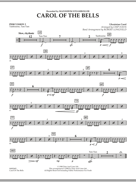 Carol Of The Bells - Percussion 2 (Concert Band)