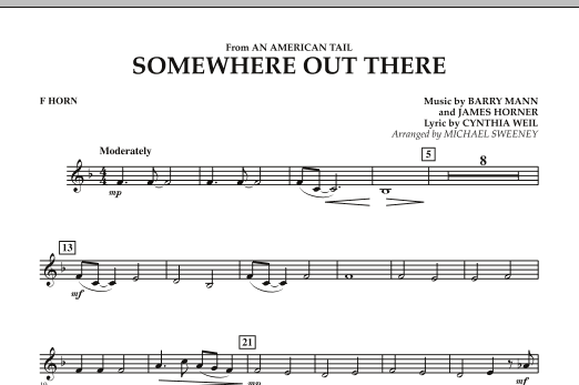 Somewhere Out There (from An American Tail) - F Horn (Concert Band)