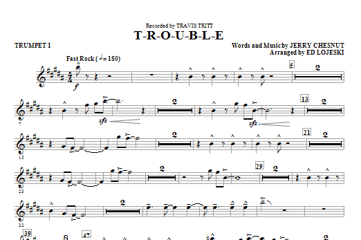 T-R-O-U-B-L-E (complete set of parts) sheet music for orchestra/band (chamber ensemble) by Ed Lojeski, Elvis Presley, Jerry Chesnut and Travis Tritt. Score Image Preview.
