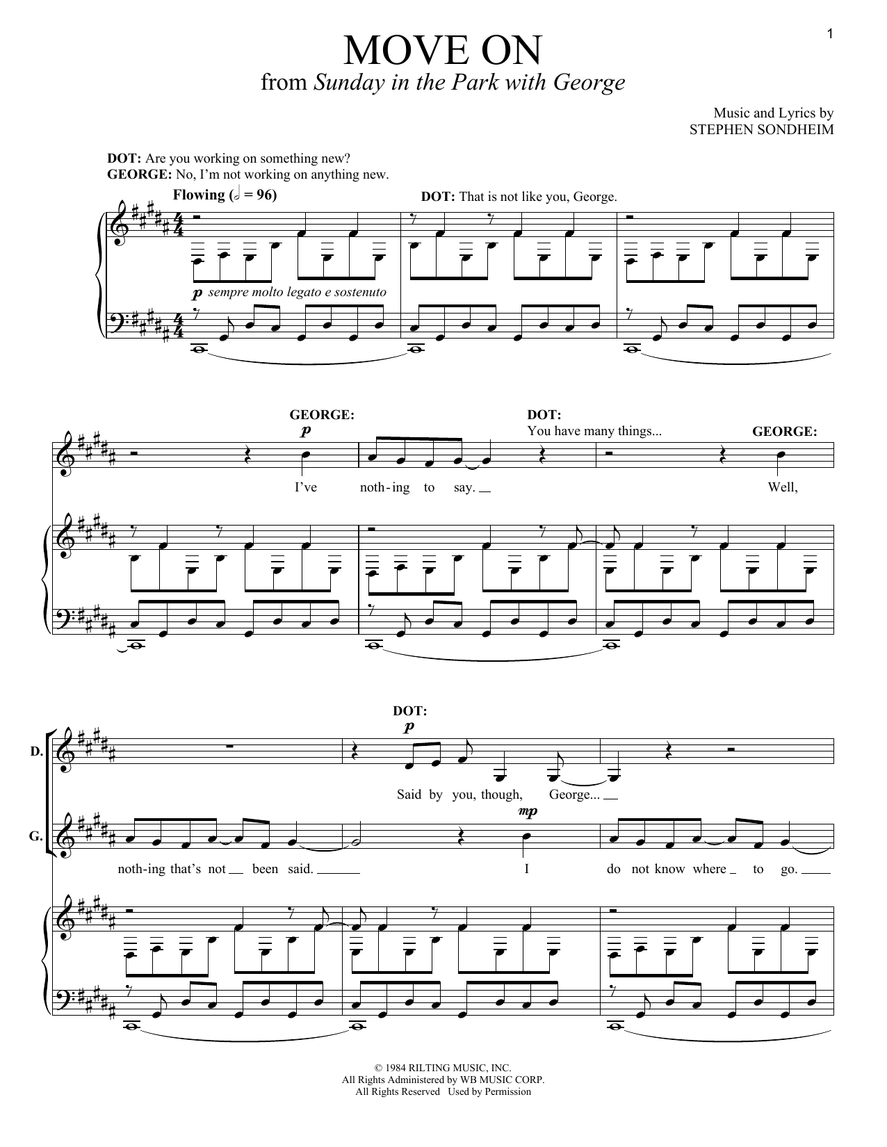 Broadway Selections from Sunday In The Park With George (complete set of parts) sheet music for voice and piano by Stephen Sondheim. Score Image Preview.