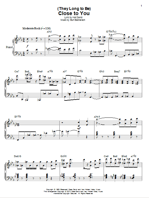 Partition piano (They Long To Be) Close To You de Erroll Garner - Piano Solo