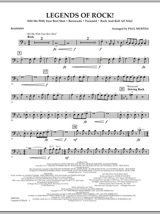 Legends Of Rock! - Bassoon (Concert Band)