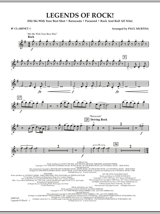 Legends Of Rock! - Bb Clarinet 1 (Concert Band)