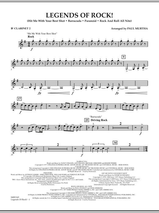 Legends Of Rock! - Bb Clarinet 2 (Concert Band)