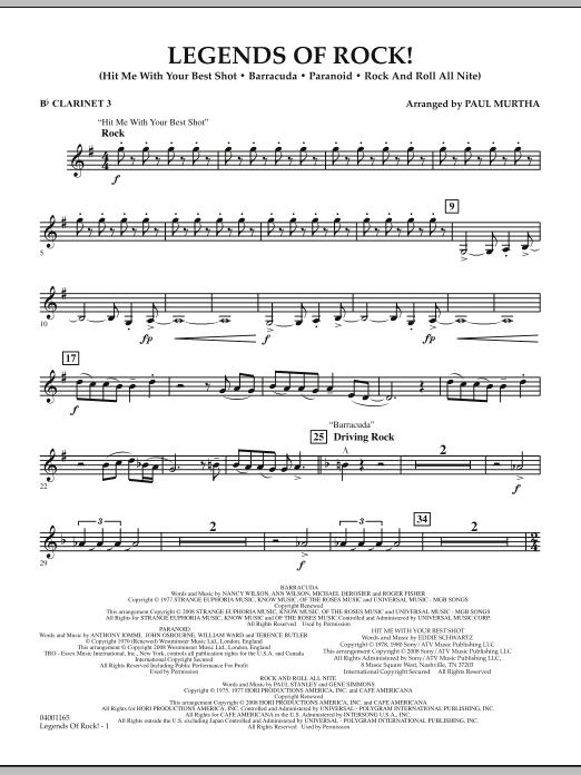 Legends Of Rock! - Bb Clarinet 3 (Concert Band)