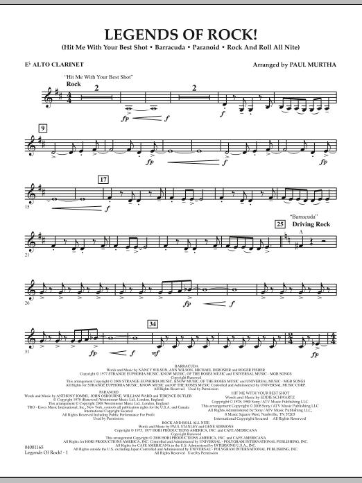 Legends Of Rock! - Eb Alto Clarinet (Concert Band)
