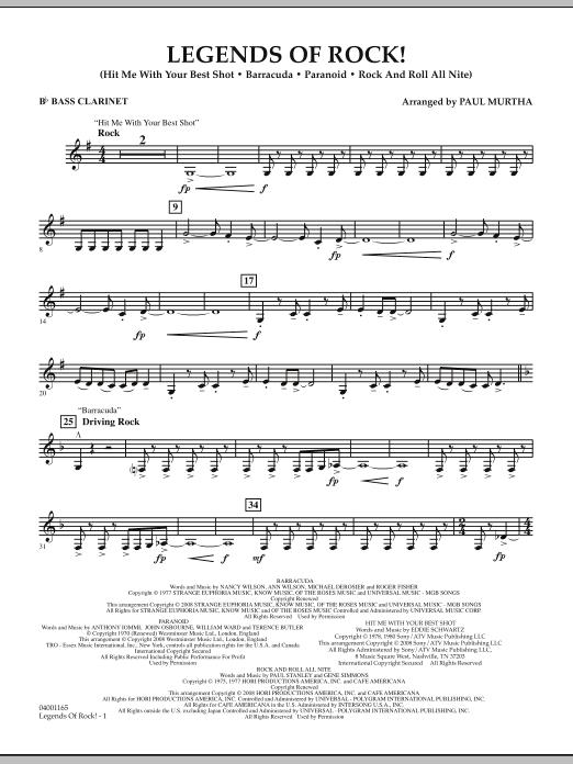Legends Of Rock! - Bb Bass Clarinet (Concert Band)