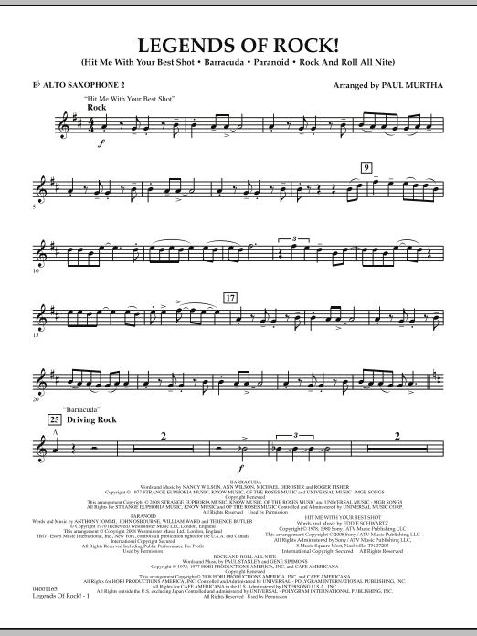Legends Of Rock! - Eb Alto Saxophone 2 (Concert Band)