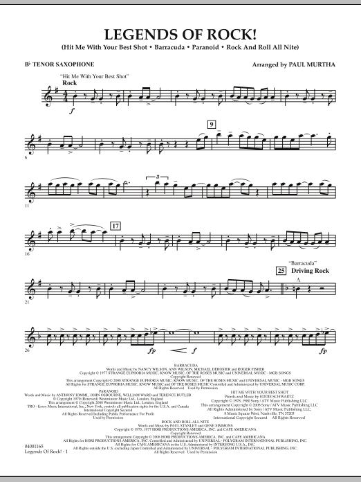 Legends Of Rock! - Bb Tenor Saxophone (Concert Band)