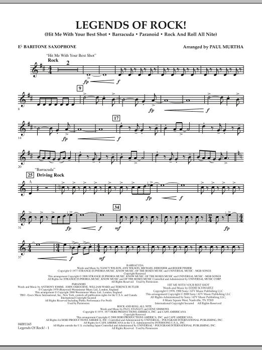 Legends Of Rock! - Eb Baritone Saxophone (Concert Band)