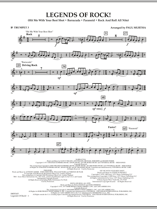 Legends Of Rock! - Bb Trumpet 3 (Concert Band)