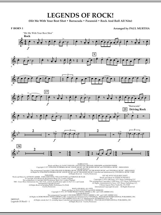 Legends Of Rock! - F Horn 1 (Concert Band)