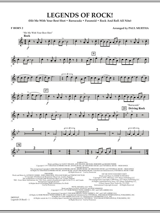 Legends Of Rock! - F Horn 2 (Concert Band)