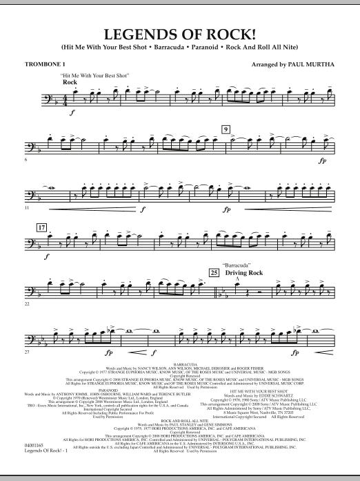 Legends Of Rock! - Trombone 1 (Concert Band)