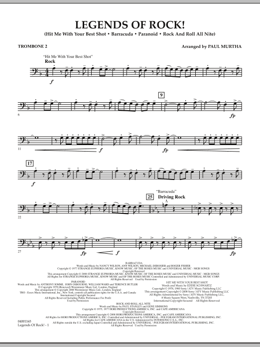 Legends Of Rock! - Trombone 2 (Concert Band)