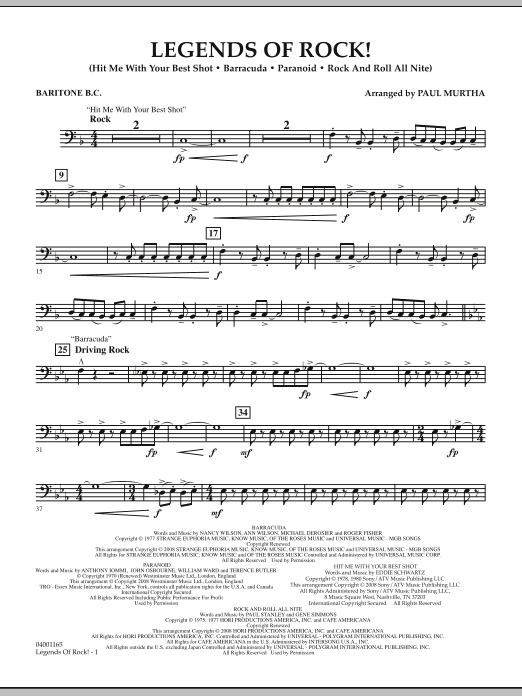 Legends Of Rock! - Baritone B.C. (Concert Band)