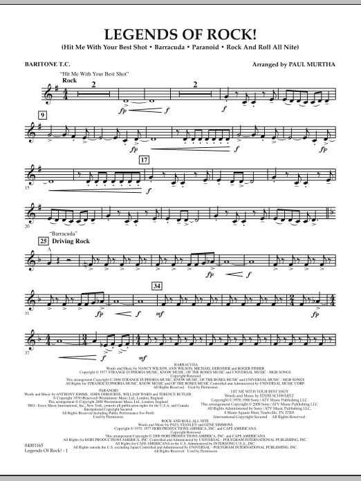 Legends Of Rock! - Baritone T.C. (Concert Band)