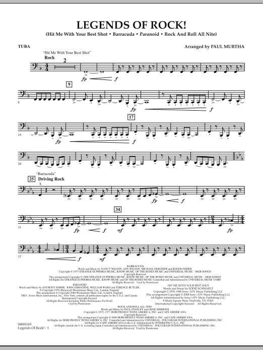 Legends Of Rock! - Tuba (Concert Band)