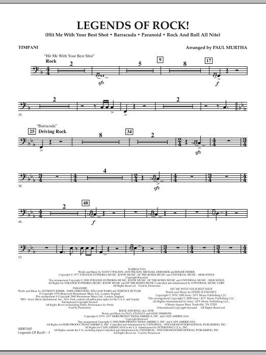 Legends Of Rock! - Timpani (Concert Band)