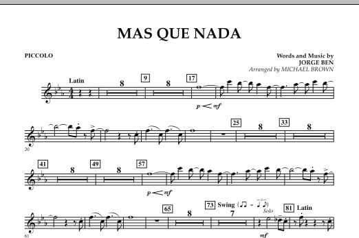 Mas Que Nada - Piccolo (Concert Band)