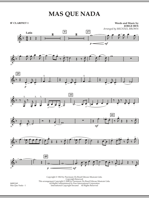 Mas Que Nada - Bb Clarinet 1 (Concert Band)