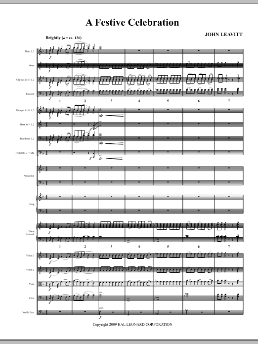 A Festive Celebration (COMPLETE) sheet music for orchestra/band (Orchestra) by John Leavitt. Score Image Preview.