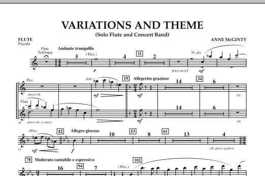 Variations And Theme (for Flute Solo And Band) - Flute (Piccolo) (Concert Band)