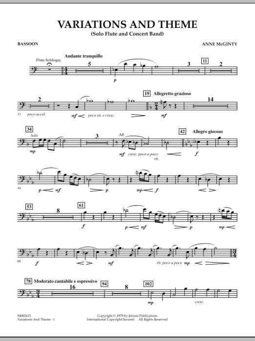 Variations And Theme (for Flute Solo And Band) - Bassoon (Concert Band)