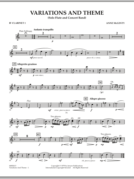 Variations And Theme (for Flute Solo And Band) - Bb Clarinet 1 (Concert Band)