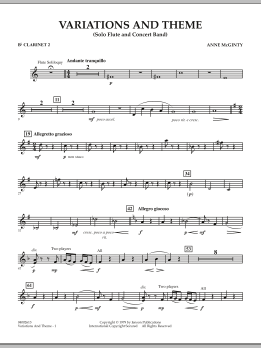 Variations And Theme (for Flute Solo And Band) - Bb Clarinet 2 (Concert Band)