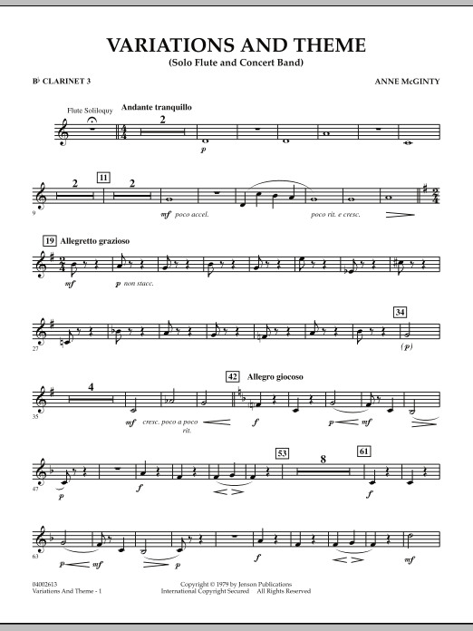 Variations And Theme (for Flute Solo And Band) - Bb Clarinet 3 (Concert Band)