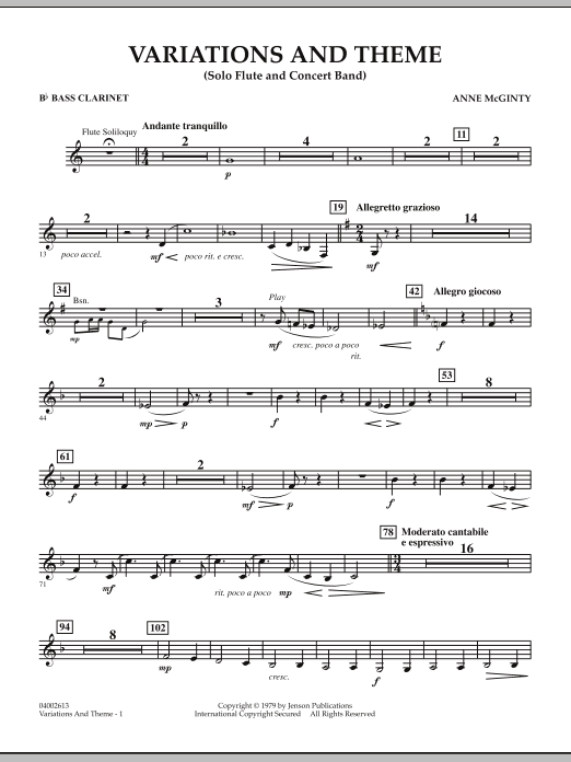 Variations And Theme (for Flute Solo And Band) - Bb Bass Clarinet (Concert Band)