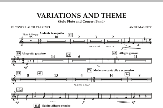 Variations And Theme (for Flute Solo And Band) - Eb Contra Alto Clarinet (Concert Band)