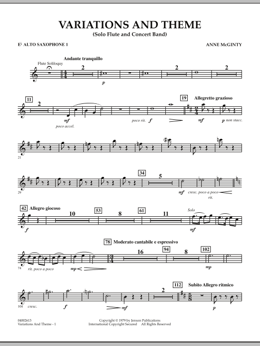 Variations And Theme (for Flute Solo And Band) - Eb Alto Saxophone 1 (Concert Band)