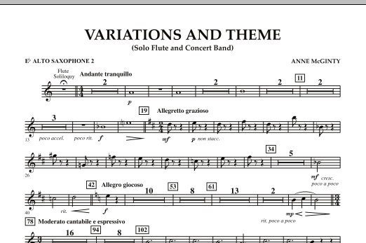 Variations And Theme (for Flute Solo And Band) - Eb Alto Saxophone 2 (Concert Band)