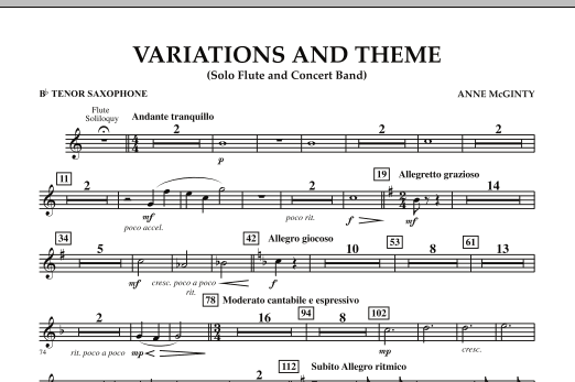 Variations And Theme (for Flute Solo And Band) - Bb Tenor Saxophone (Concert Band)